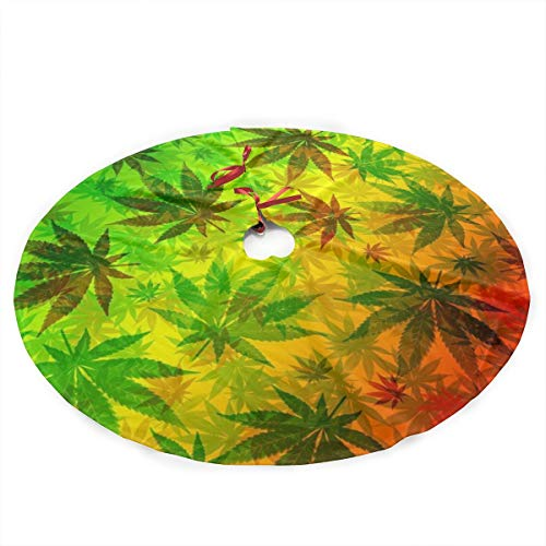 UUCNJY Christmas Tree Skirt Marijuana Leaves Rasta Printed Xmas Tree Plush Skirt Christmas Tree Skirt Mat for Xmas Holiday Party Decorations