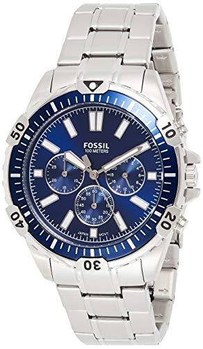 Orologio cronografo Fossil Garrett con cinturino in acciaio inossidabile tono argento per uomo...
