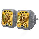 Tacklife EST02-2 avanzado comprobador de enchufes, testeador del cableado eléctrico, probador del zócalo de corriente para circuitos eléctricos meter tester polaridad neutro y tierra - 2 piezas
