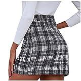 Lenfeshing Mini Falda de Cuadros de Pata de Gallo Decoración del Botón Cintura Alta Elegante para Mujer Falda Decorativa con Bolsillo Delantero