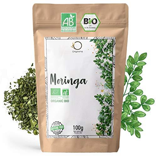 ORIGEENS MORINGA TEE BIO 100g | MORINGA TEE BLÄTTER GETROCKNET | Moringa Bio Roh Loses ohne Teein, belebender Kräutertee | In Deutschland zertifiziert und verpackt