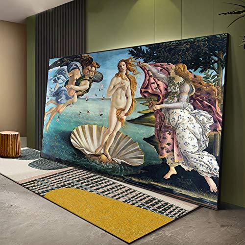 GUDOJK Cuadro en lienzo de pared con diseño del nacimiento de Venus renacentista famosa pintura al óleo sobre lienzo Botticelli Reproducción de arte de pared clásica de 60 x 120 cm