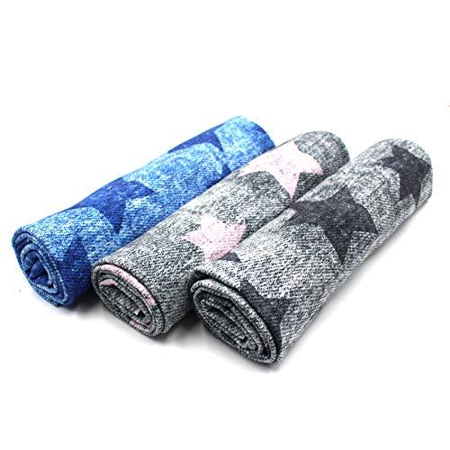 VmG-Store Stoffpaket 3x Jersey je 0,5m zum Nähen von Kinderkleidung Kinderstoff Jerseystoff Paket (Used Sterne (Set05))