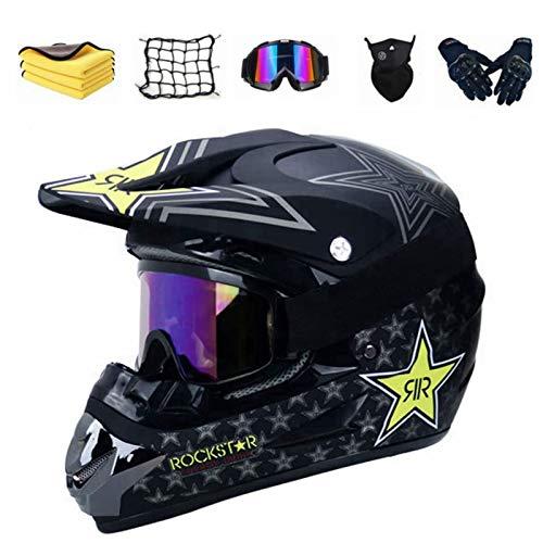 Casco de motocross para niño, casco de motocross,conjunto de moto para niños con máscara de guantes de gafas, unisex, color negro brillante L