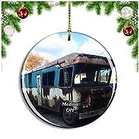 メディナ城ノエルオハイオ米国クリスマスデコレーションオーナメントクリスマスツリーペンダントデコレーションシティトラベルお土産コレクション磁器2.85インチ