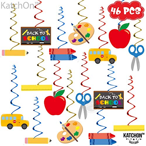 Back To School Decorations Hanging Swirls - Pack of 46 | Back To School Decor l School Classroom Hanging Decorations | Bus School Themed Decorations | Middle School Back to School Party Decorations