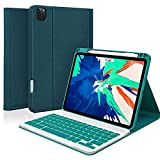 iPad Pro Case with Keyboard for 11' 2021/2020/2018, 10.9 Inch Keyboard Case for Air 4th Generation, 11 Pro 3rd/2nd/1st Gen Cover with Pencil Holder, 7 Color Backlit Detachable Wireless Keyboard(Teal)