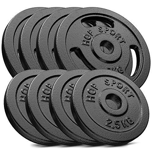 Hop-Sport 30kg Gusseisen Hantelscheiben 30 mm - Gewichte Hantel Sets zur Auswahl: 2x5kg+2x10kg / 4x2,5kg+4x5kg / 8x1,25kg+4x2,5 kg+2x5kg (4x2,5kg+4x5kg)