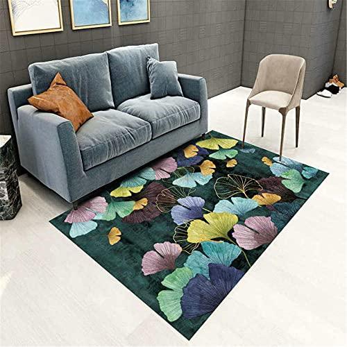 WCCCW Colorido Patrón de Hoja de Alta definición de impresión sofá Dormitorio Sala de Estar al Lado de la habitación alfombra-50x80cm para Comedor, Dormitorio, Pasillo y Habitación Juvenil