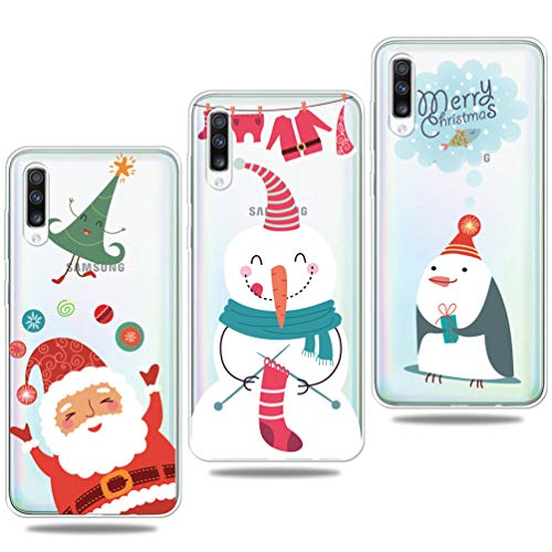 Vogu'SaNa - Carcasa de Silicona para Samsung Galaxy A50/A50s, diseño de Navidad, Funda Fina y Transparente, 3 Unidades
