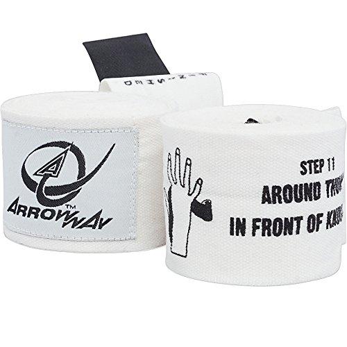 ArrowWay Lehr Hand Bandagen für Kinder Bedruckt Für Boxen & MMA 360,7cm Weiß