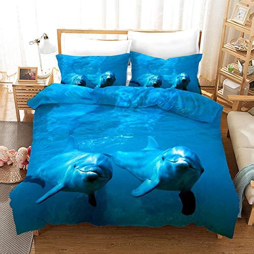 Qiuka Delfín 1 Funda Nordica 150x200cm + 2 Fundas de Almohada 48x74cm,Mar Azul Animales Ropa de Cama Infantil de Microfibr, Juego de Ropa de Cama Cierre con Cremallera