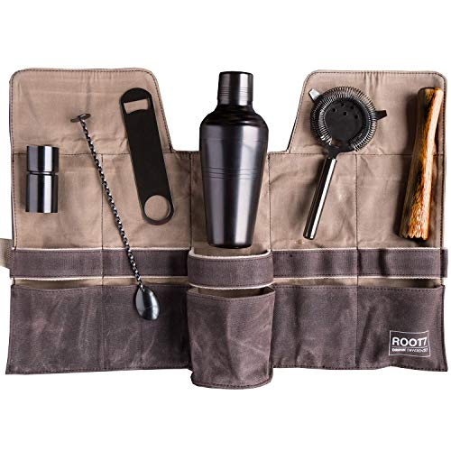 Mixology Bartender Kit | 6-piece Cocktail Shaker Set including Cocktail Shaker 19 oz, Bar Blade, Jigger, Wood Muddler, Cocktail Strainer, Bar Spoon and Wax Canvas Bag | For Home and Workplace by Root7