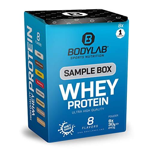 Bodylab24 Sample Box Whey Protein 8x30g / 80{997921954cc6983926aa44ca8c71648c657d9f814ef351b41a9cf938ec7c067a} Eiweißgehalt, reich an BCAAs / 8 Geschmacksvarianten zum Ausprobieren mit je 1 Portion / perfekt löslich, ideal zur Nutzung nach dem Training