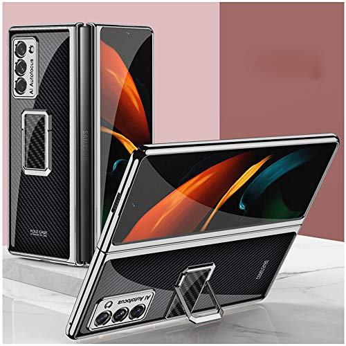 DOOTOO for Samsung Galaxy Z Fold 2 Case Luxury Plastic Plating Crystal Ring Holder Shockproof Protection Finish Bumper Cover Case for Samsung Galaxy Z Fold 2 5G (Carbon Fiber)
