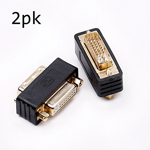 DVI-D Stecker zu DVI-I Buchse Adapter, DVI Adapter mit Doppelkupplung Monitoradapter Kompakte Bauweise Vergoldete Kontakte 2er-Set