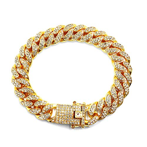 HUAMING 12mm Gold Plated Hip Hop Iced Out CZ Lab Diamond Miami Cuban Link Chain Bracelet for Men and Women Gold 10inch