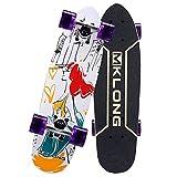 VByge Maple Doble Inclinación Skateboard Big Fish Board Profesional De Cuatro Ruedas Monopatines Transporte Small Fish Board Longboard Blanco 72x20cm