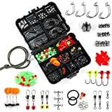 Fishing Accessories Kit, Dr.meter 204pcs Fishing Tackle Kit Including Jig Hooks, Bullet Sinker Weights, Split Rings, Sinker Slides, Beans for Bass Trout Freshwater Saltwater, Great Gifts for Fishermen
