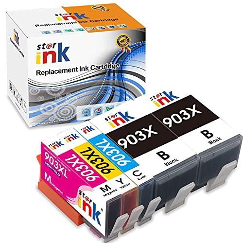 Starink 903XL Patronen Ersatz für HP 903 903XL Druckerpatronen für HP Officejet 6950 Pro 6970 6760 6978 6979 6965 6968 All-in-One Drucker Neuester Chip (2 Schwarz, 1 Cyan, 1 Magenta, 1 Gelb, 5er-Pack)