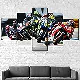 AWER 5 Piezas Imprimir Lienzo de Pintura MotoGP Marquez Rossi Bikes Race Cuadro decoración Estilo Piasaje Pintura para Arte de Listo para Colgar en un Marco