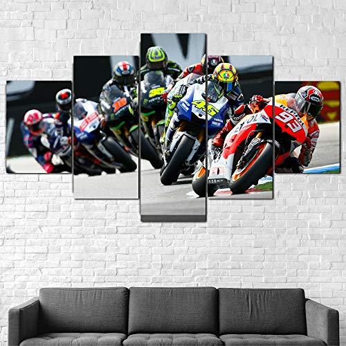 ZHRMGHG Impresiones sobre Lienzo Moderno HD Impreso Pintura Lienzo Decoración para El Hogar 5 Piezas Carrera De Bicicletas Motogp Márquez Rossi Poster Wall Art Picture
