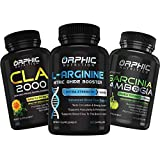 L Arginine Nitric Oxide, CLA Safflower Oil & Garcinia Cambogia Extract (60+60+90) - Weight Loss & Muscle Growth - Better Performance, Endurance, Vascularity & Heart Health -Increase Energy, Blood Flow
