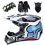 Casco Motocross, Casco Moto Cross para Niños de 5-16 Años, Casco MTB Integral Desmontable Adulto y Juventud con Gafas Guantes Máscara, Homologado DOT/ECE, con Diseño FOX, Copos Nieve Blancos