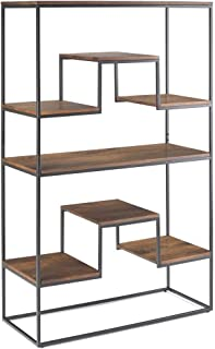 Simpli Home Byron SOLID MANGO WOOD and Metal 61 inch x 39 inch Industrial Contemporary Bookshelf in Light Walnut Brown with 6 Shelves, for the Living Room, Study and Office