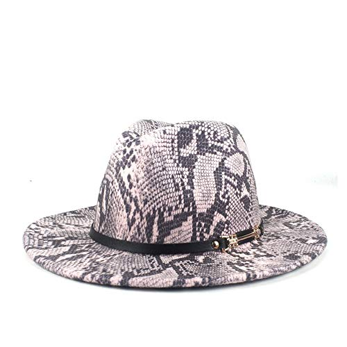 8 Colores Hombre Otoño Invierno Diseño De Mujeres Amplio Sombrero De ala, Sombrero De Jazz, Sombrero De Fedora, Poliama De Lana Panamá con Cinturón(Size:56-58cm,Color:4)