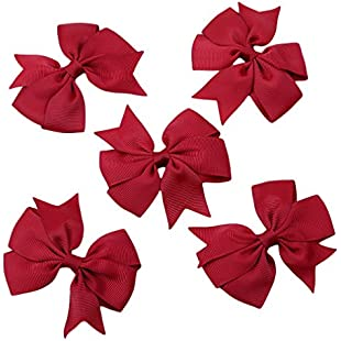 Yinew 5PCS Big Bow Hairpins Hair Clips for Children Kids Girls Hair Accessories,Red:Superclub