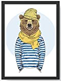 Fashion Animal Hipster Seebär Kunstdruck Poster
