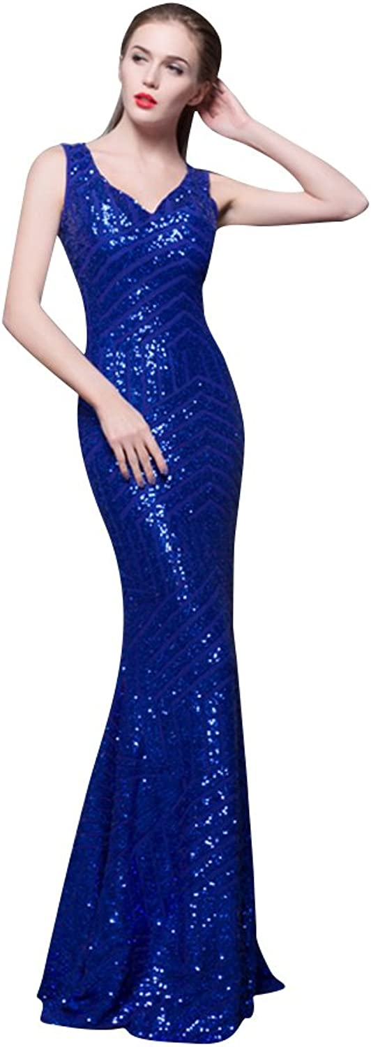 BeautyEmily SeeThrough Bodycon Sweep Train Sequins Stripes Prom Dress