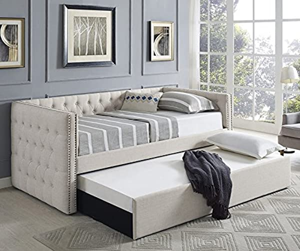 Trina Ivory Fabric Daybed W Trundle By Crown Mark