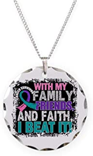 CafePress Thyroid Cancer Survivor Fami Charm Necklace with Round Pendant
