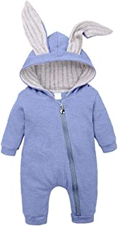 Berrywho Neugeborene Pramsuit Baumwolle Neugeborene Baby-Strampler mit Kaninchen-Ohr-reizender neugeborenes Baby-mit Kapuze Kleidung Spielanzug für Baby Jungen 0-18 Monate