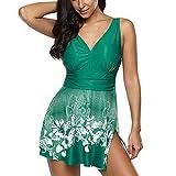 Swimsuits Women Swimsuit High Waist Swimwear Fashion Flower Print Bathing Suits Summer Beach Wear Swimming Suit S-5XL-Green_L