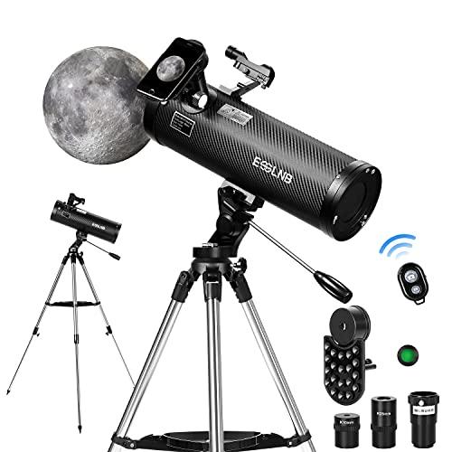 ESSLNB Telescopio Astronomico 500114 Telescopio Astronomico Profesional con Trípode Ajustable de Acero Inoxidable Control Remoto de Cámara Bluetooth Adaptador de Teléfono Punto Rojo Buscador