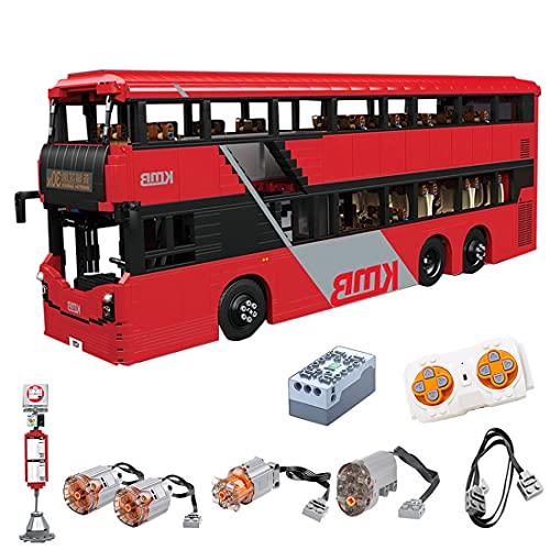 Sunbary Técnica de autobús de doble piso, 1:16, 2,4 GHz/APP, modelo de autobús teledirigido con motor y mando a distancia, 3542 piezas, bloques de sujeción, compatible con Lego Technic