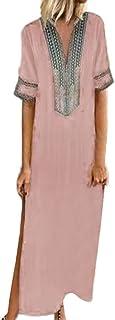 Women V-Neck Short Sleeve Maxi Dress ❀ Ladies Fashion Printed Solid Hem Baggy Kaftan Long Dress