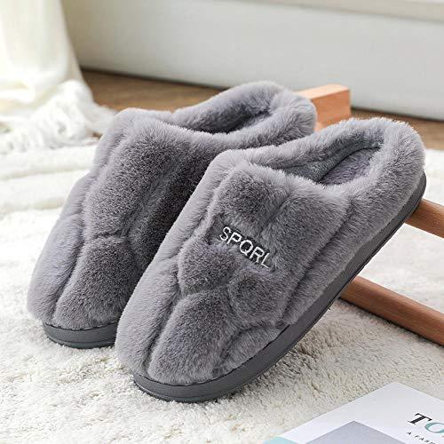 HUSHUI CáLido Zapatos Memory AlgodóN,Pantuflas Antideslizantes con Plataforma, Lindas Pantuflas de algodón para Interiores-Gris_36-37,Pantuflas De Casa para Mujer