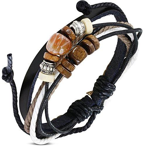 Zense ZB0291 Leren armband voor heren, verstelbaar, zwart met parel Karma en snaren