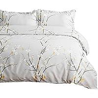 2-Piece Bedsure Twin Printed Spring Bloom Pattern Duvet Cover Set (Light Grey)