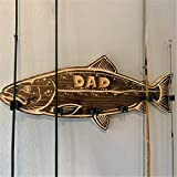 FURPO Wood Large Mouth Bass Fishing Rod Holder Wall Mounted Fishing Pole Storage Rack for Garage Door Wall Mount Perfect for Dad Gift (C)