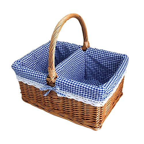 Wicker Empty Picnic Basket Hand Woven Hamper Portable Market Shopping Basket Fruit Snack Toy Storage Basket Outdoor 2 Person Camping Flower Baskets Home Decorations