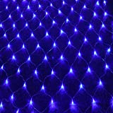 LED String Lights Net Mesh Lights 9.8ft x 6.6ft 200 Dimmable with Controller Tree-wrap with 8 Modes for Wedding Christmas Outdoor Garden (Blue)