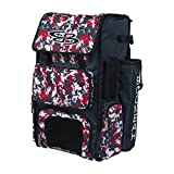 Boombah Superpack Bat Pack - Backpack Version (no Wheels) - Holds 4 Bats - Camo Navy/Red - for Baseball or Softball