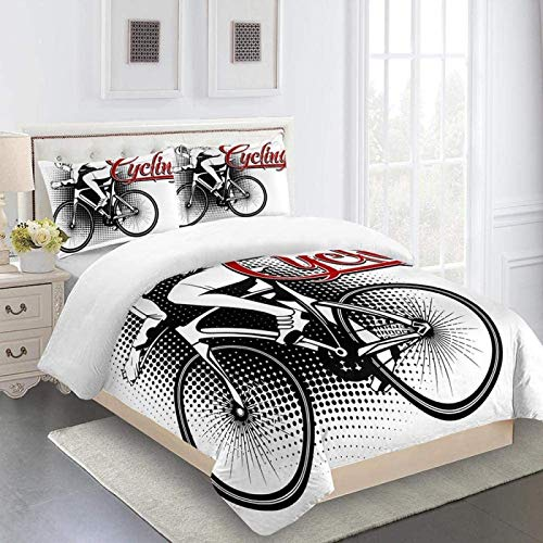 XYXSS Juego De Ropa De Cama 3D (L200 * W200Cm) Ejercicio En Bicicleta - Juego De Sábanas Algodón Cama Infantil - 1*Funda Nórdica De Edredón,2* Fundas De Almohada,1*Sábana Fundas De Cama
