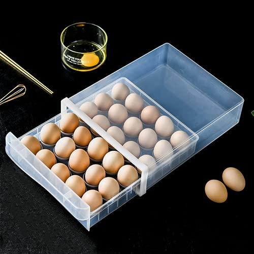 KUATAO Tenedor De La Casa De Huevo Transparente, Canasta De Huevo Apilable, Sostenga hasta 60 Huevos, Polvo Y Huevo De Humedad, Bandeja De Huevo, Fácil De Usar Gabinete De Huevo,Single Layer
