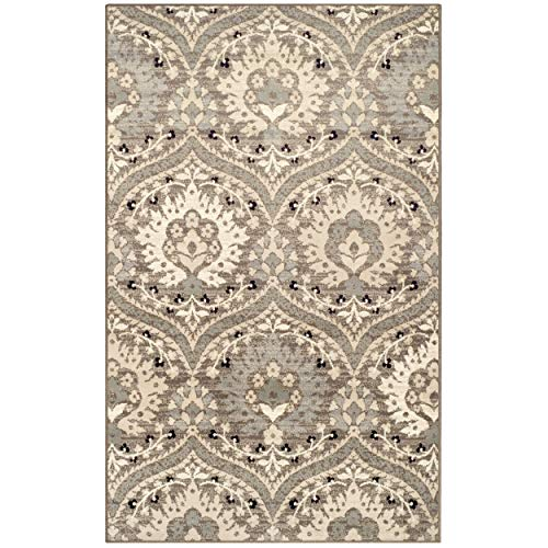 Superior Elegant Augusta Area Rug, Floral Scalloped Contemporary Pattern, 5' x 8', Light Blue